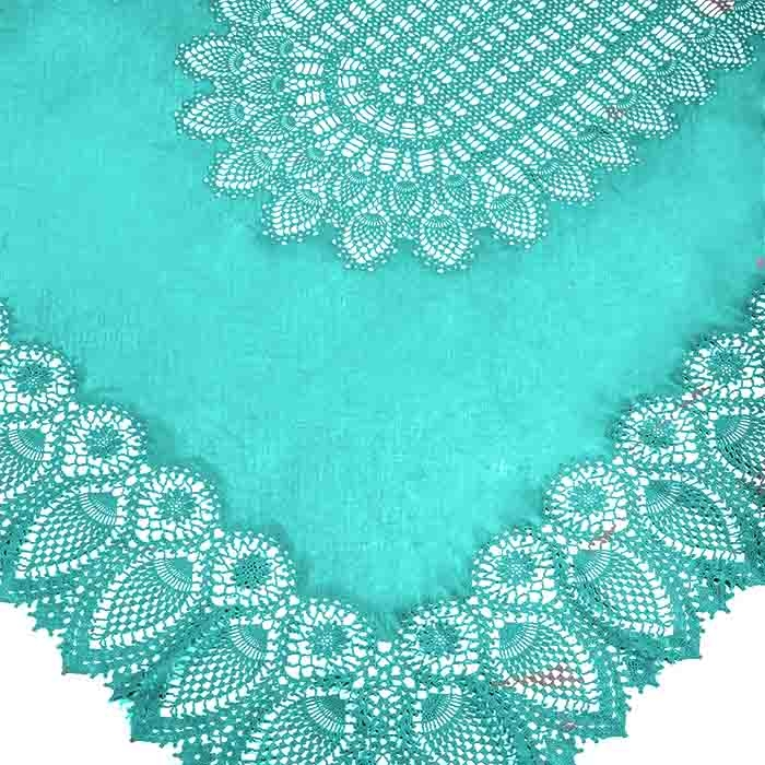 Turquoise vinyl lace waterproof tablecloth 150 x 264 cm