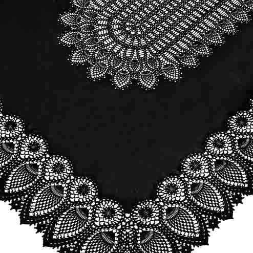 Black vinyl lace waterproof tablecloth 150 x 264 cm