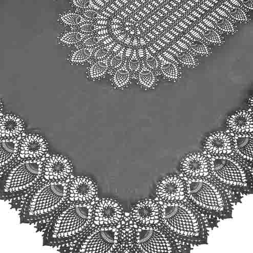 Dark grey vinyl lace waterproof tablecloth 150 x 264 cm