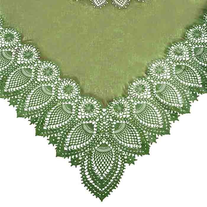 Green vinyl square lace waterproof tablecloth 137 x 137 cm