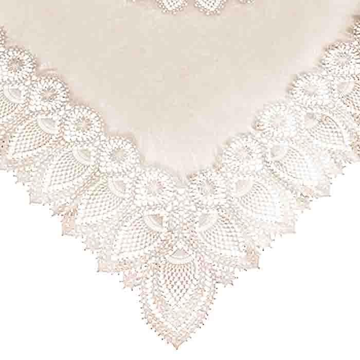 Sand vinyl square lace waterproof tablecloth 137 x 137 cm