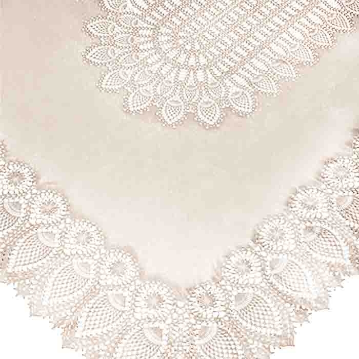 Nappe vinyle en dentelle impermeable sand 150 x 264 cm