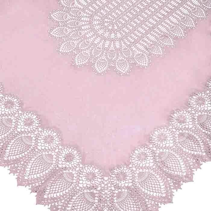 Pink vinyl lace waterproof tablecloth 150 x 264 cm