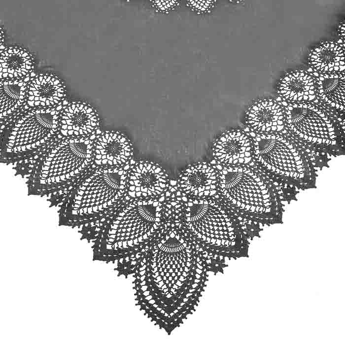 Dark grey vinyl square lace waterproof tablecloth 137 x 137 cm