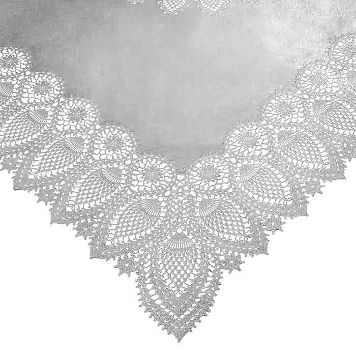 Silver vinyl square lace waterproof tablecloth 137 x 137 cm