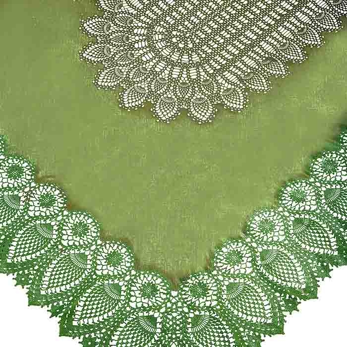 Green vinyl lace waterproof tablecloth 150 x 264 cm