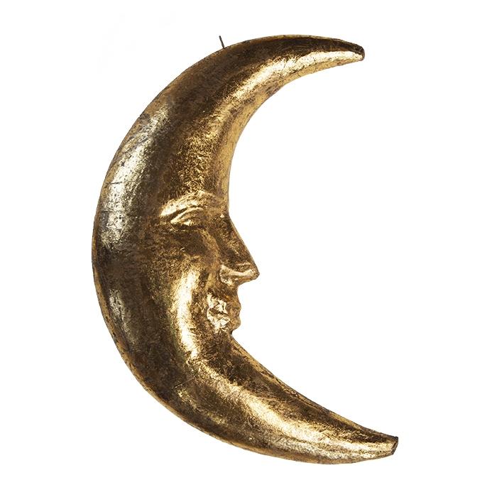 Luna di cartapesta dorata h42 cm
