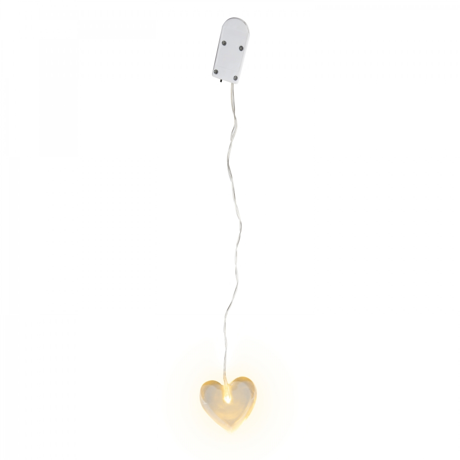 Glass led heart with battery h5 cm