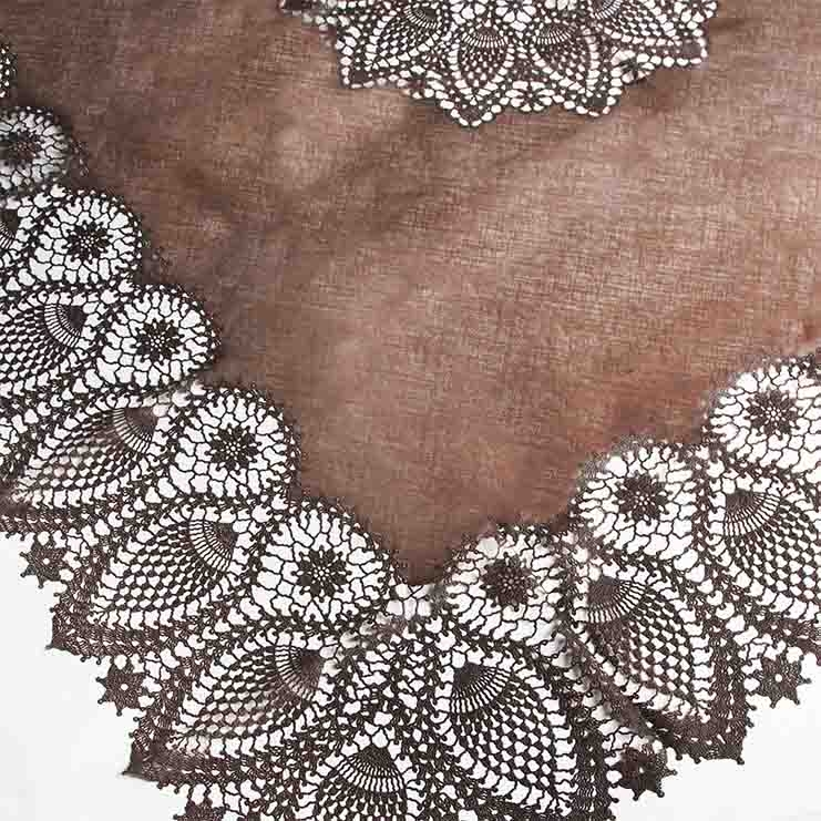 Chocolate vinyl lace waterproof tablecloth 150 x 264 cm