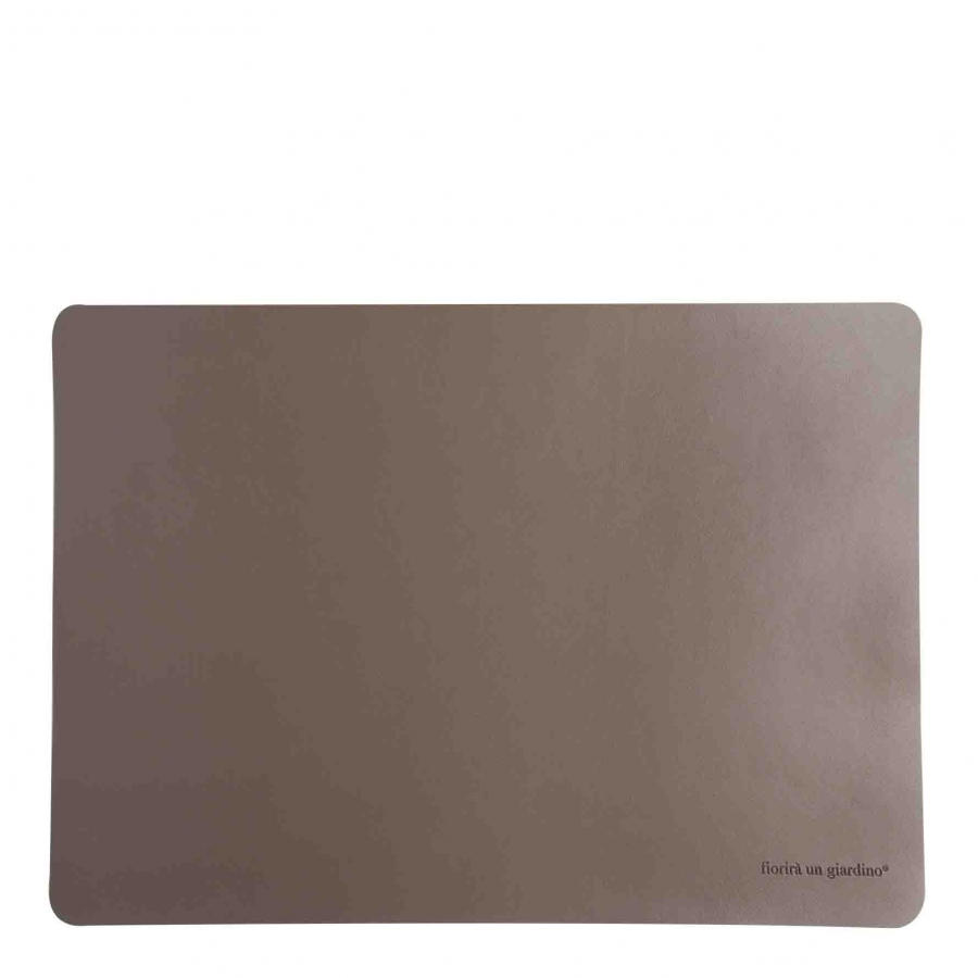 Dove grey fake leather tablemat 32 x 45 cm
