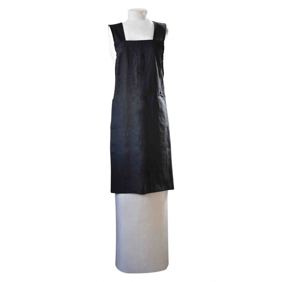 100% black linen apron with crossed straps on the back