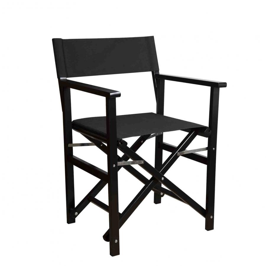 Sedia regista richiudibile nera 50 x 56 h86 cm