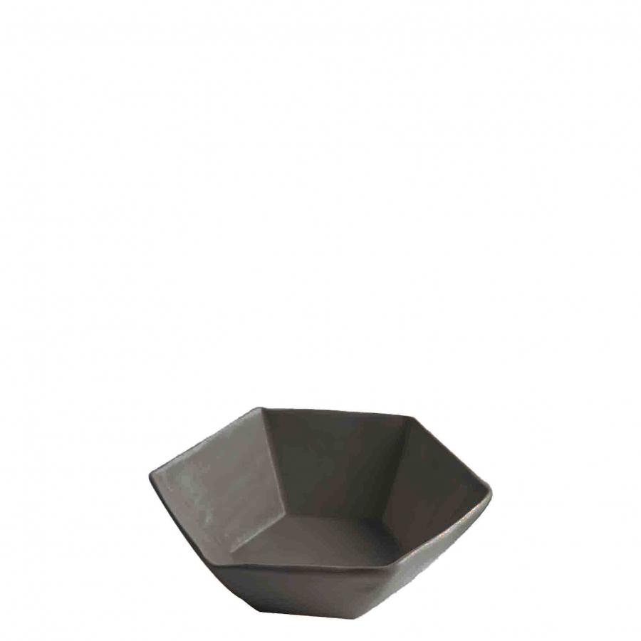 Ciotola esagonale in gres nero d16 cm