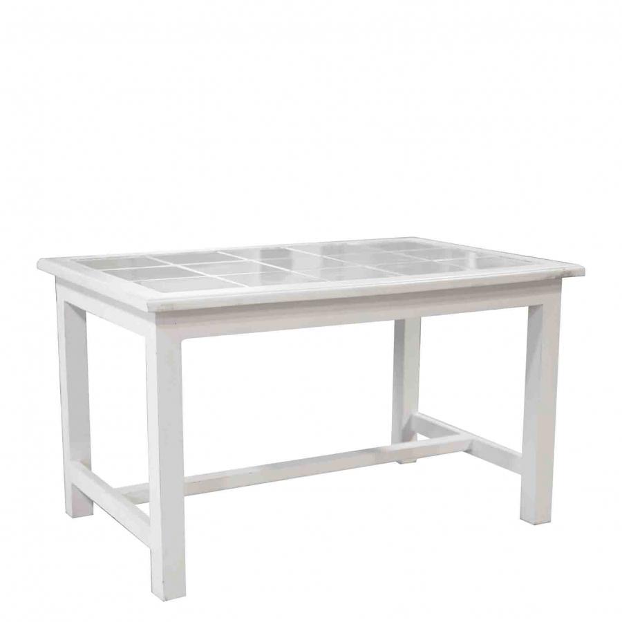 Table blanc avec carreau 52x87 h50 cm