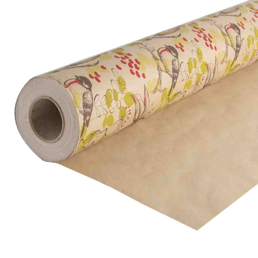 Paper roll with birds and hearts