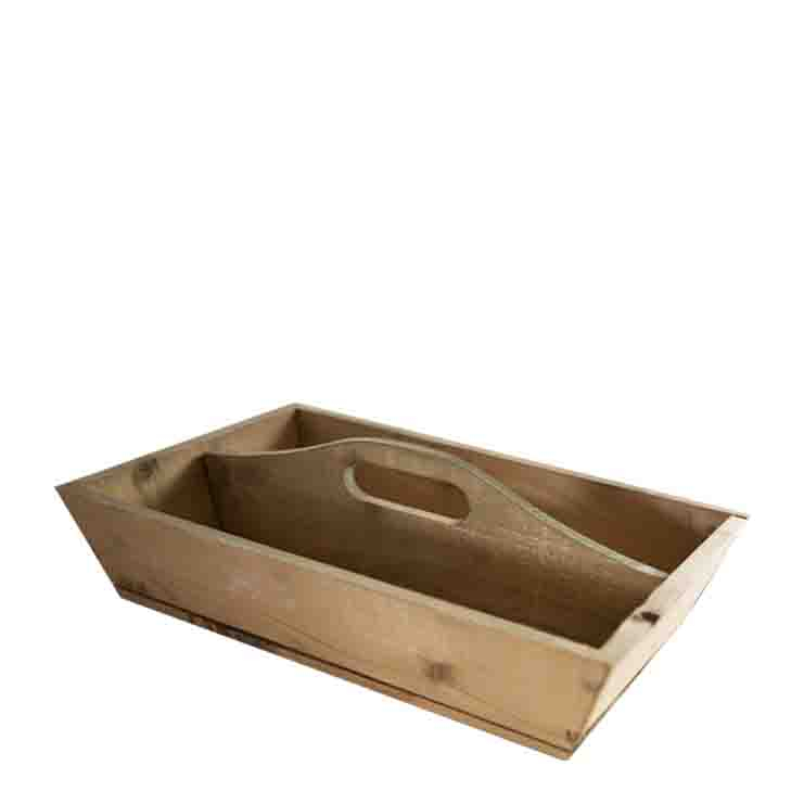 Wooden tray with 2 compartments
