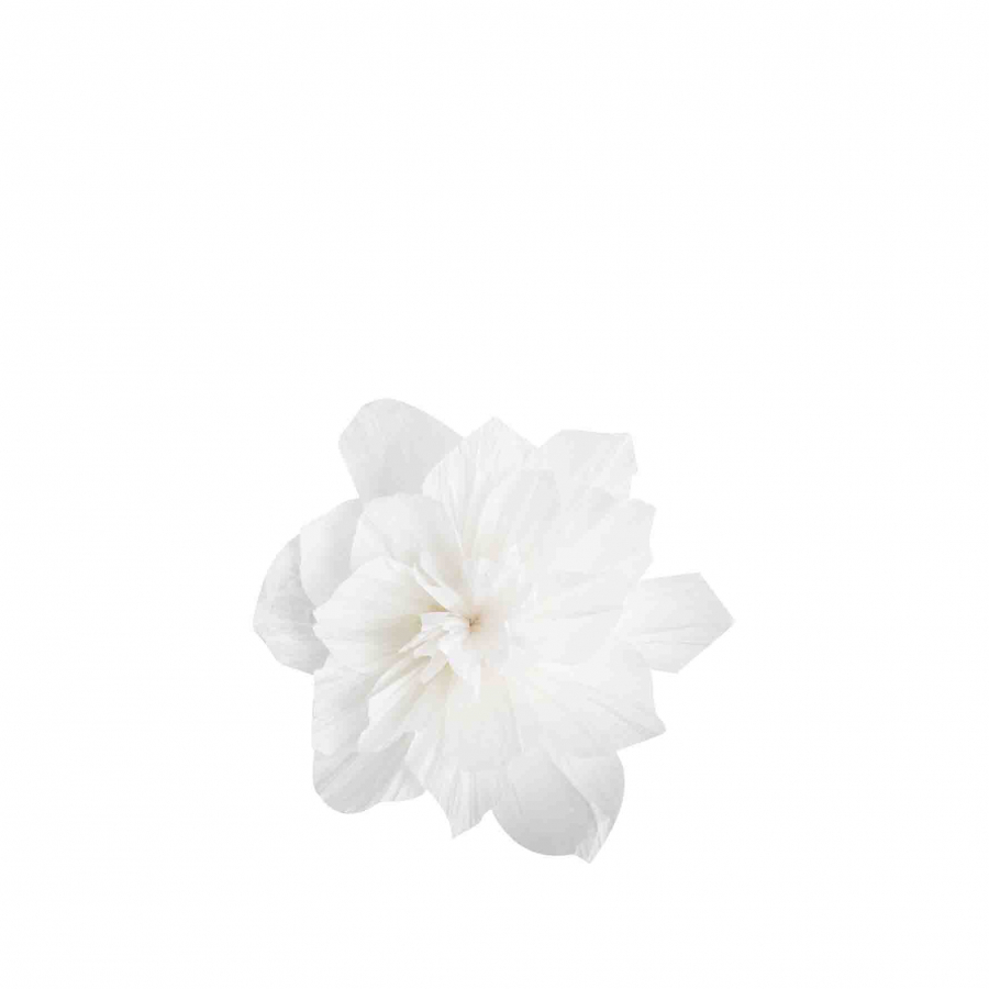White handmade recycled paper flower d15 cm