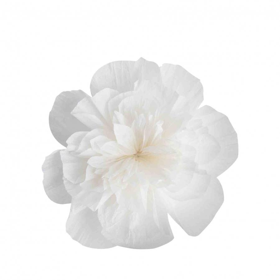 Fleur en papier blanche recycle fait a la main d18 cm