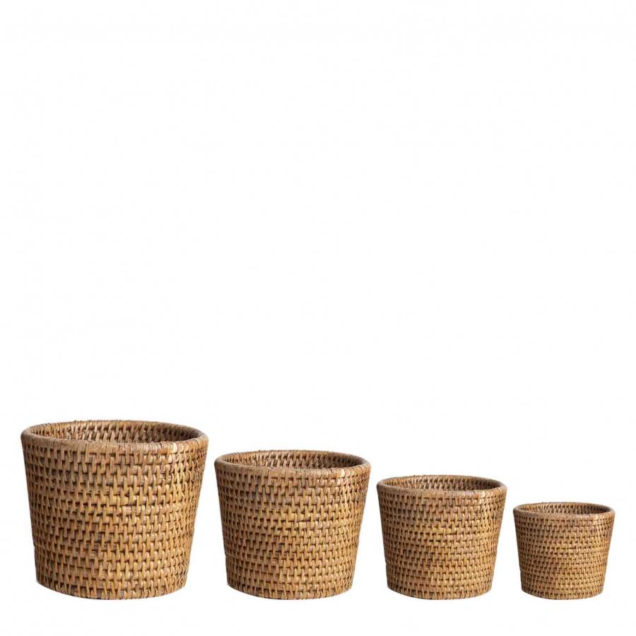 Set of 4 wicker cachepots h18-h15-h13-h12