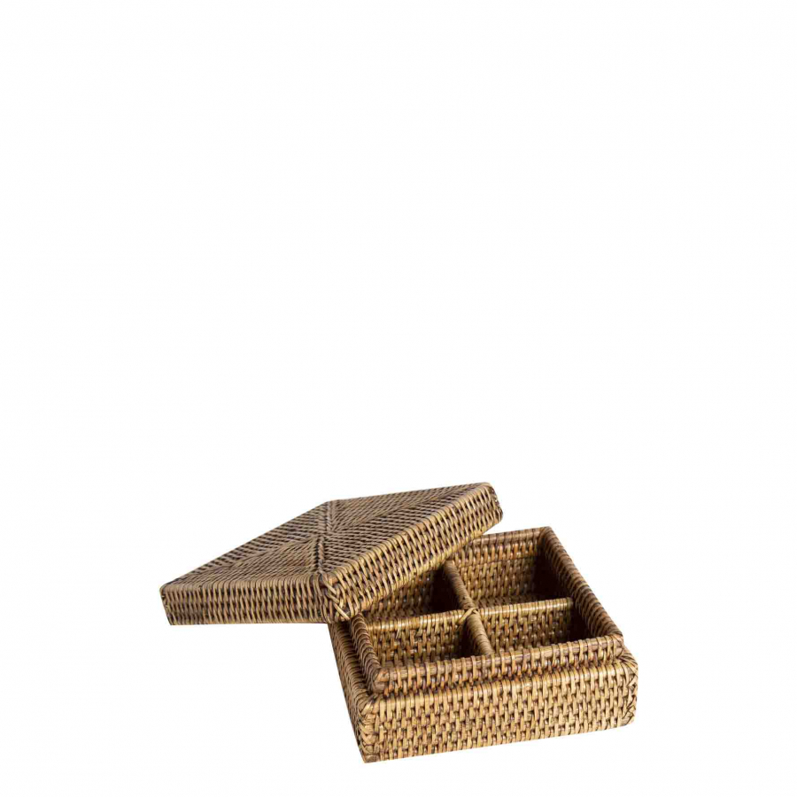 Wicker box with 4 compartments 17x17 h8 cm