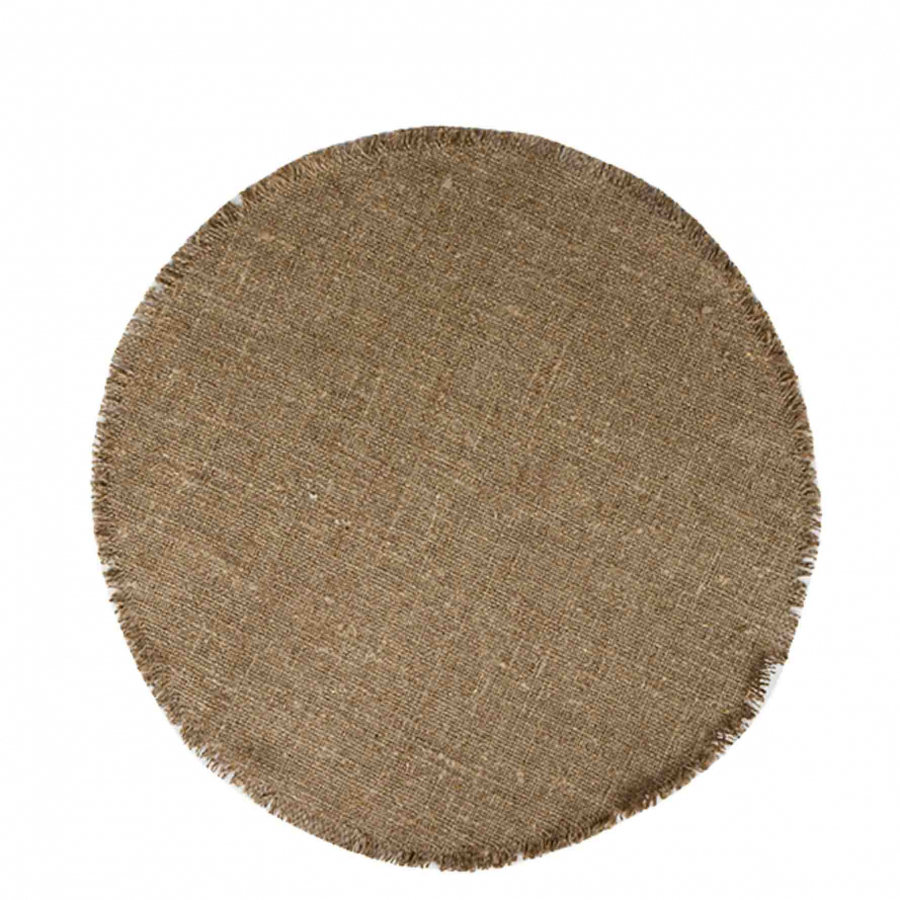 100 % linen round underplate natural colour
