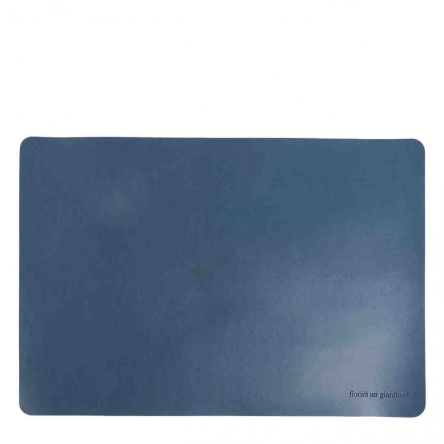 Blue fake leather tablemat 32 x 45 cm