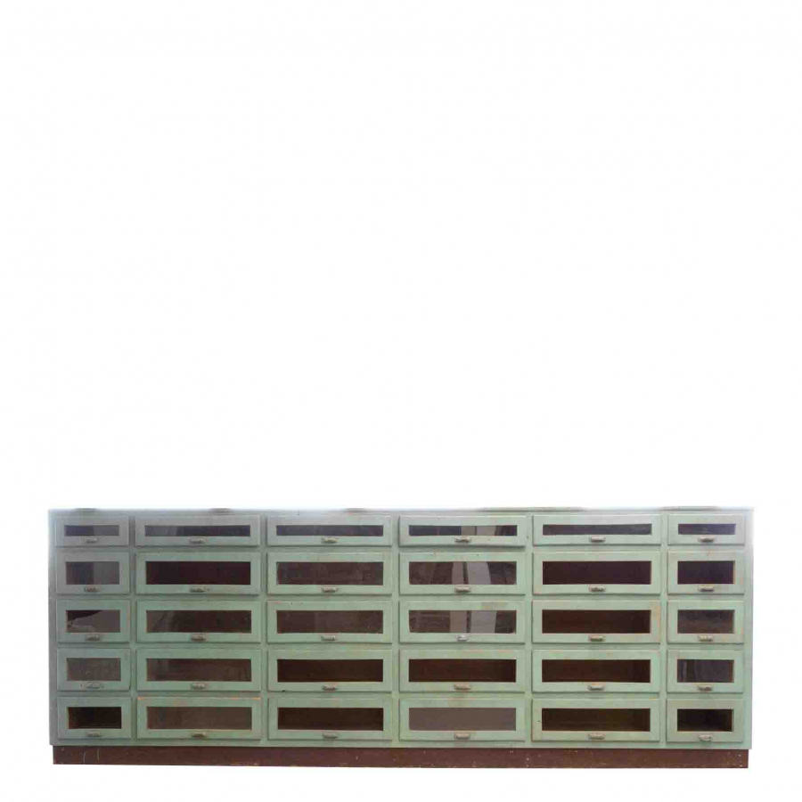 Antique green wooden furniture with 30 drawers 56 x 396 h147 cm