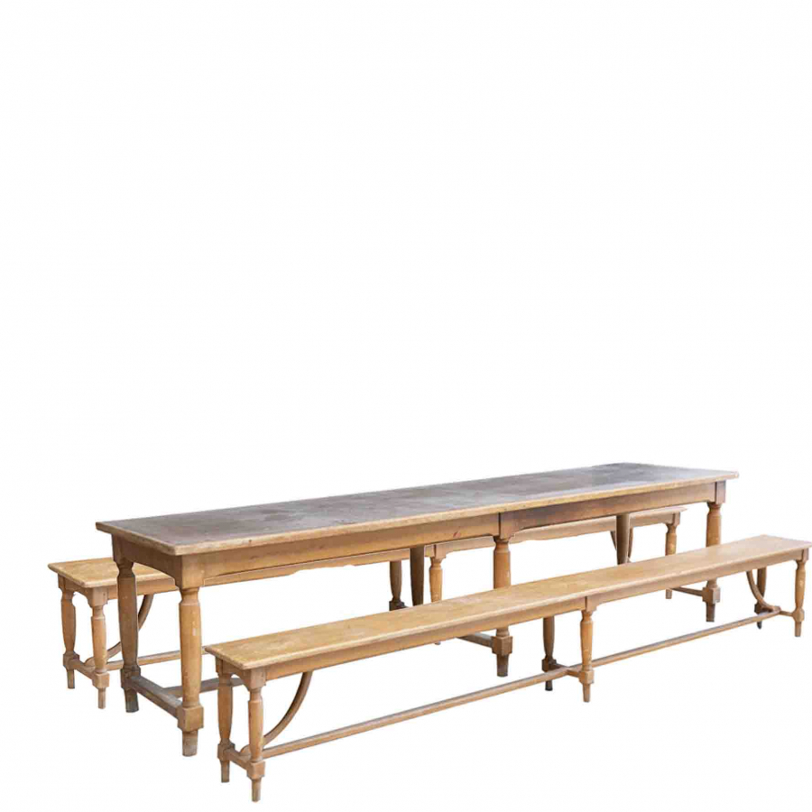 Antique table with two benches 80 x 300 h78 cm