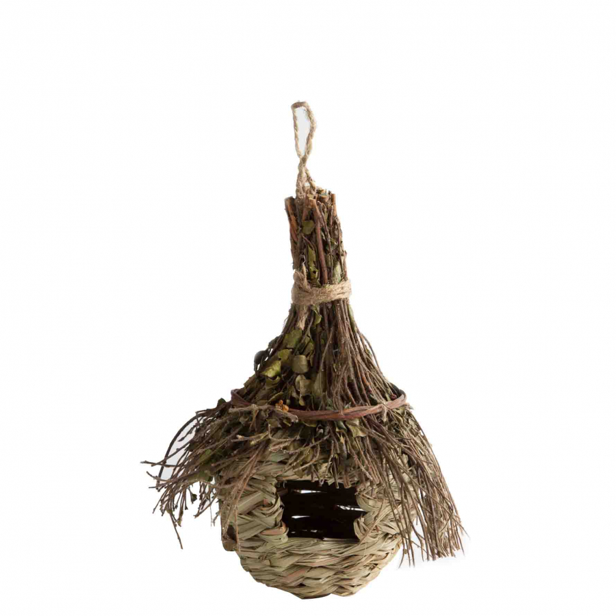 Hanging nest for birds made of leaves and sticks d8.5 h4 cm