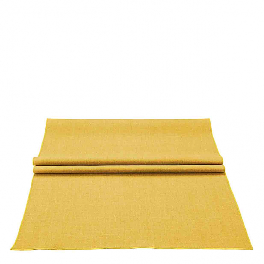 100% mustard linen runner with mustard edge