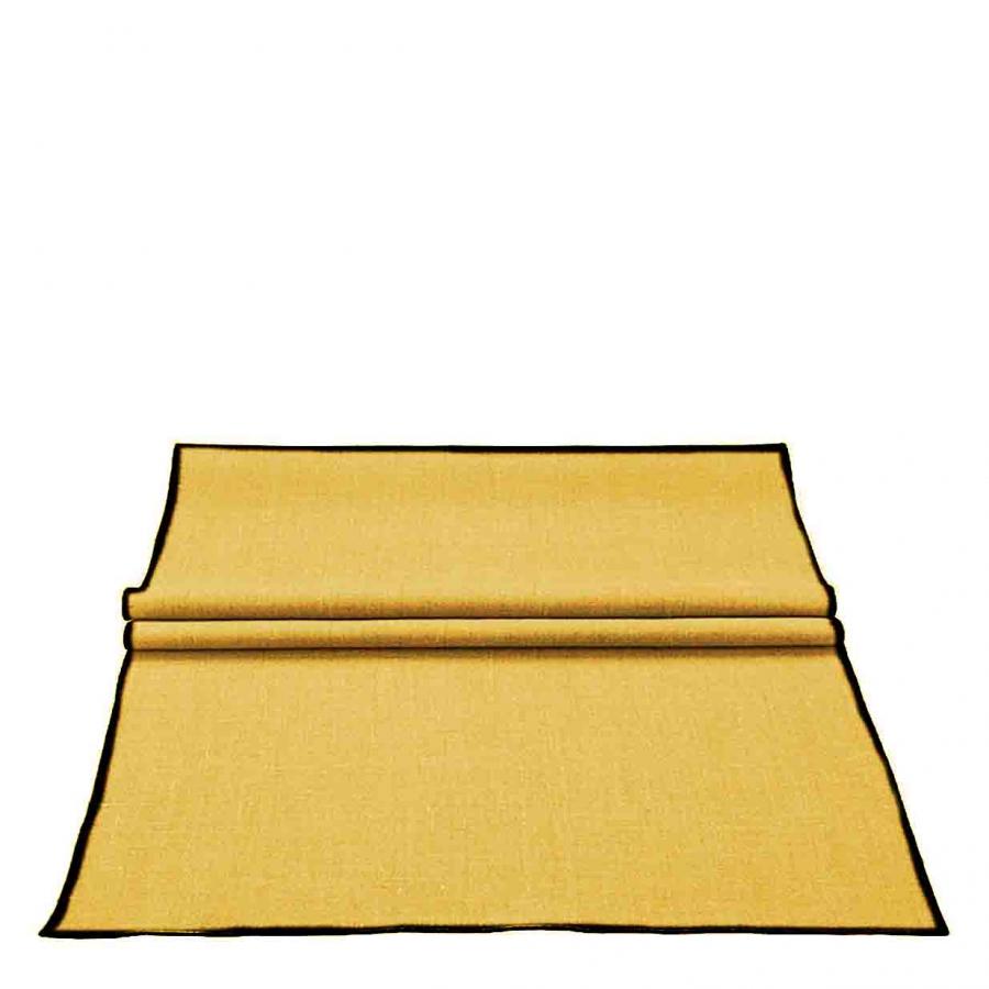 100% mustard linen runner with black edge 50x120 cm