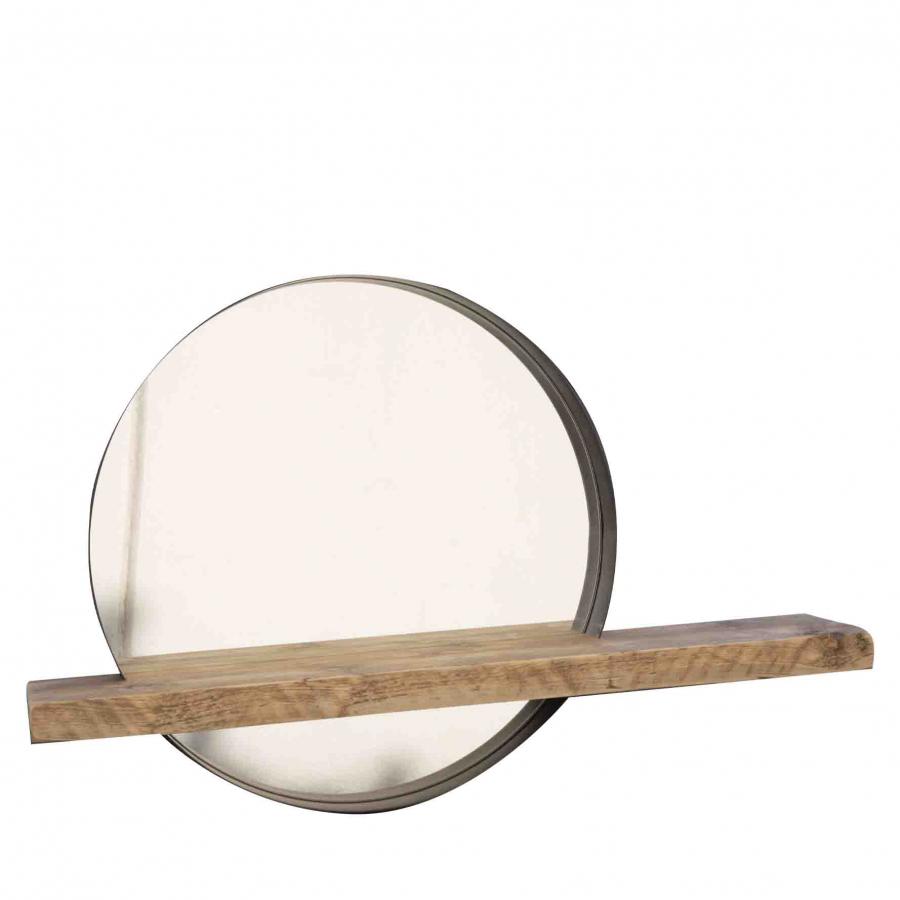 Miroir en acier avec etagere en bois brut d 61 cm
