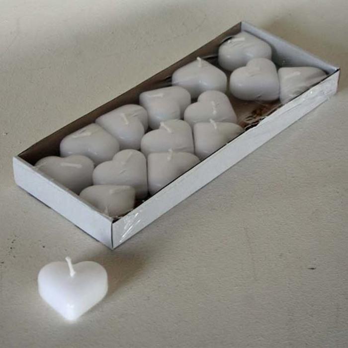 Confezione 15 candele cuore galleggianti bianche