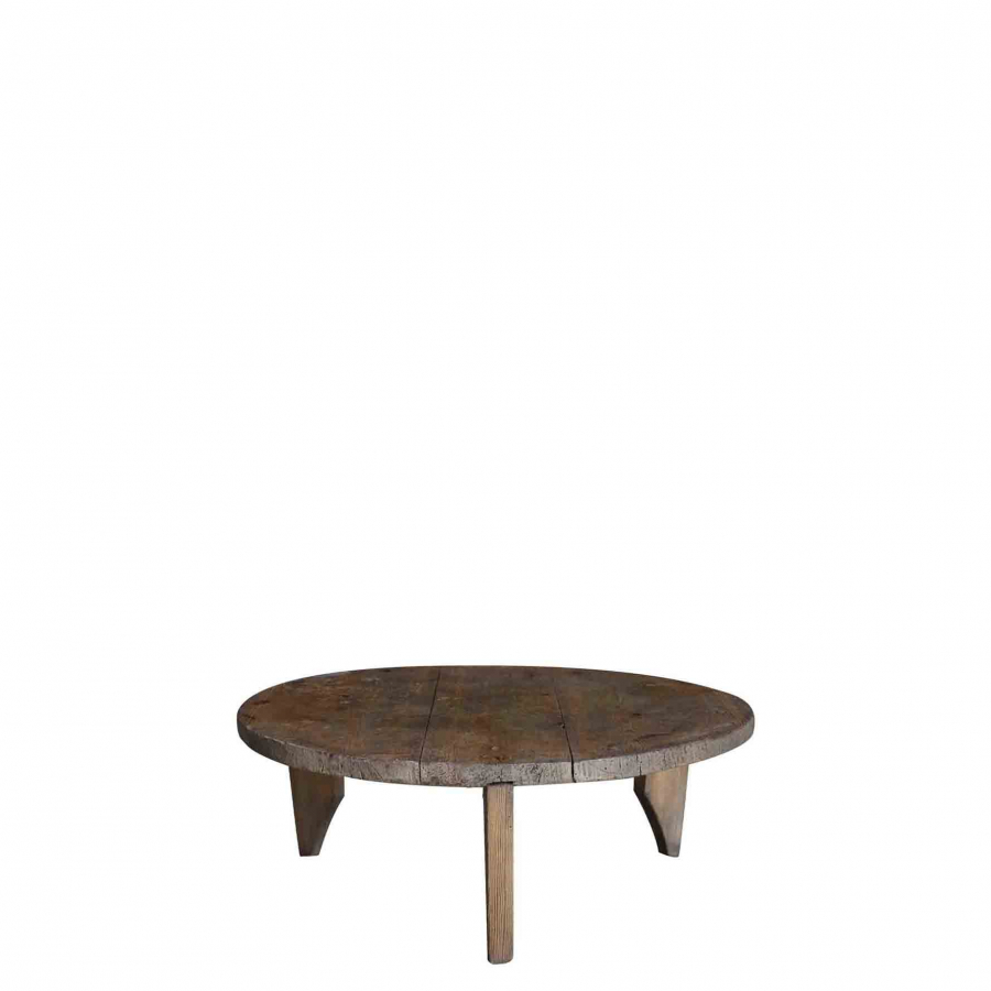 Small vintage wooden table d65 h25 cm