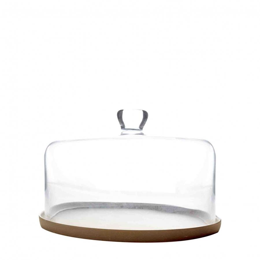 Piatto in fibra di bamboo marrone con campana vetr d28 cm