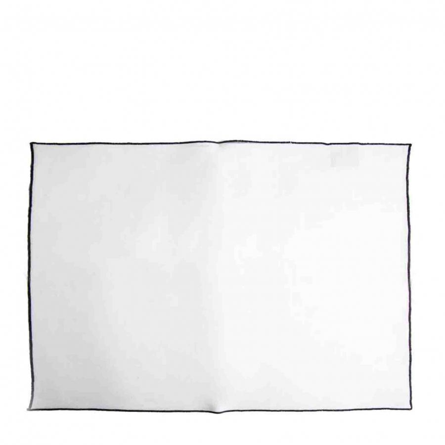 100% white linen placemat with black edge 35 x 50 cm