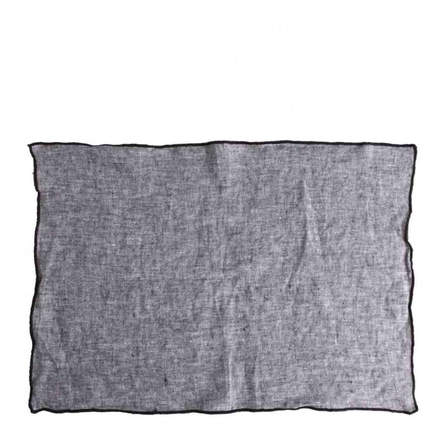 100% linen grey melange placemat with black edge 35 x 50 cm