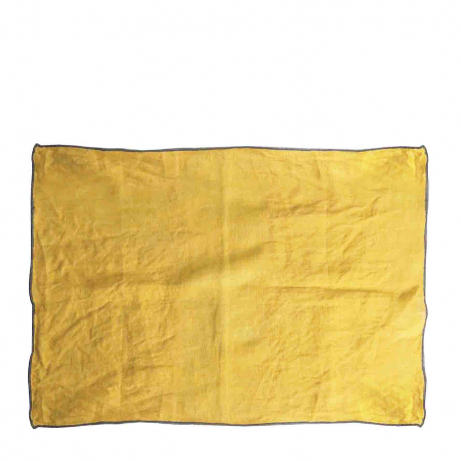 100% mustard linen tablemat with black edge 35x50 cm