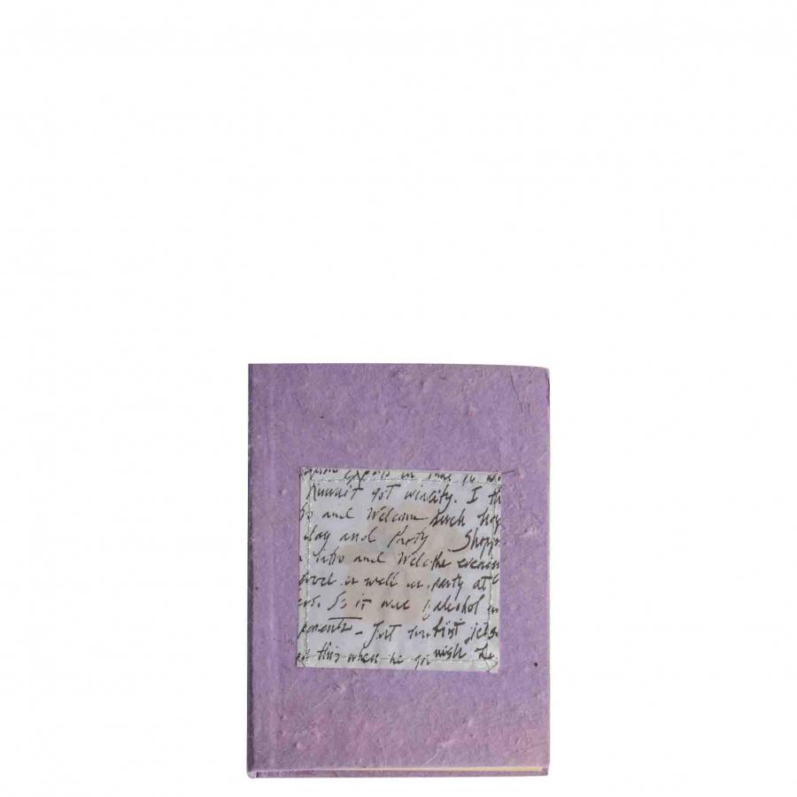 Petit cahier violet papier fait a la main 12 x 15 cm