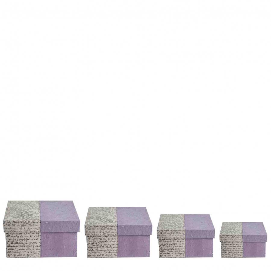 Set of 4 paper violet boxes