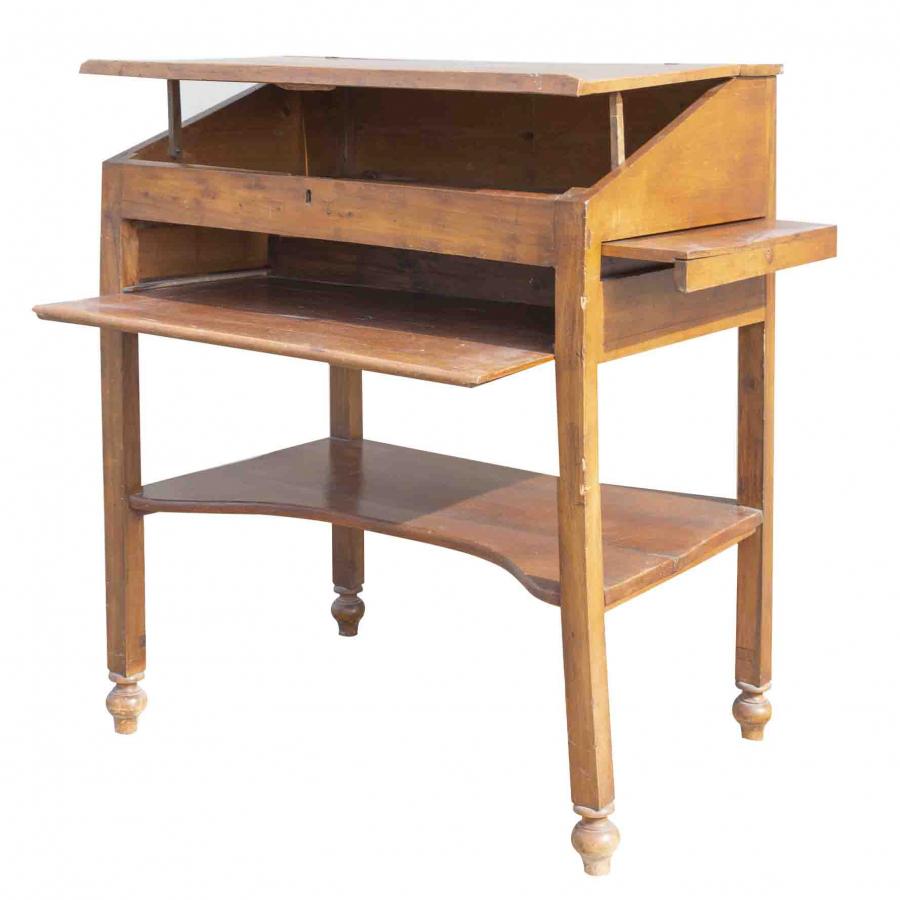 Antique walnut wooden desk of 1800 70 x 97 h123 cm