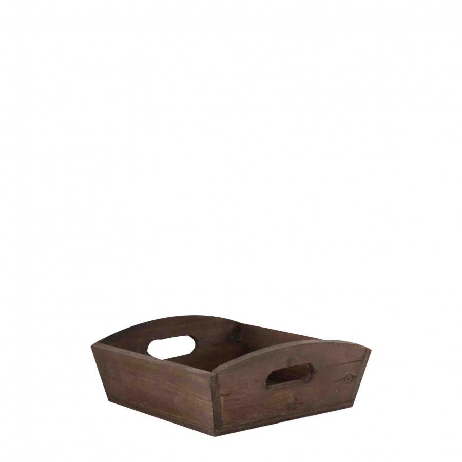 Vassoio in legno scuro con manici 15 x 15 h5.8 cm