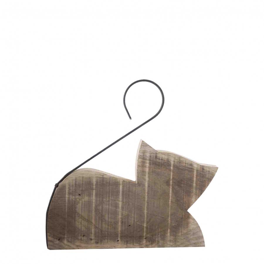 Gatto fermaporte in legno fatto a mano coda ferro 28 cm
