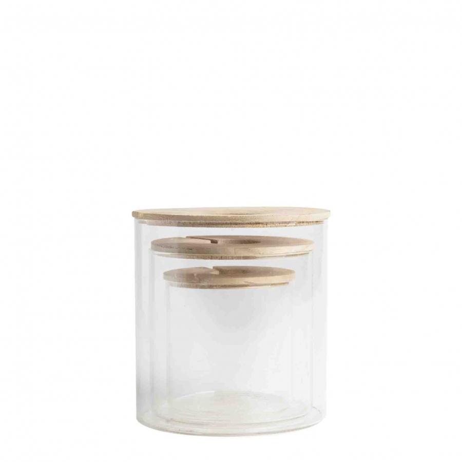 Pot en verre avec bouchon perce en bois