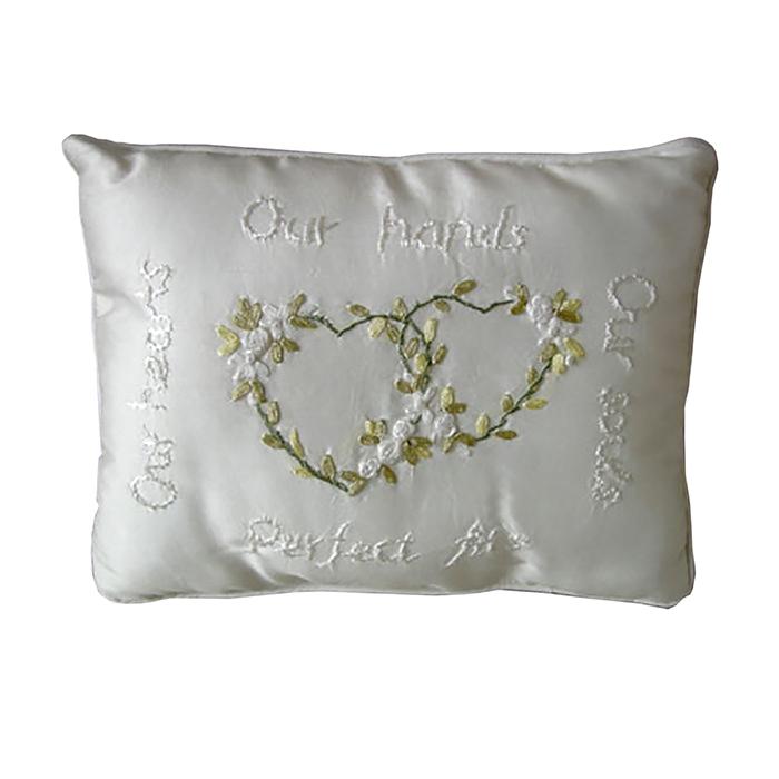 Cuscino cuori colore bianco 18 x 23.5 cm