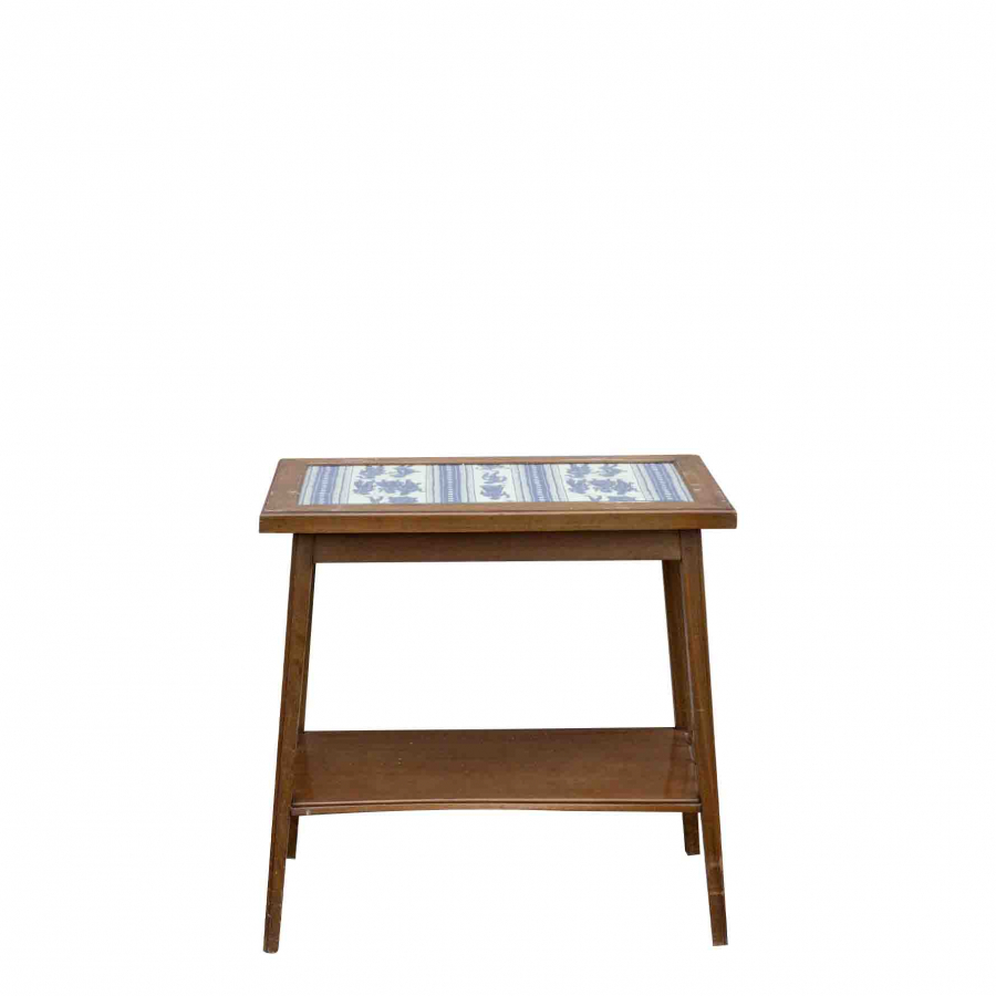 Small vintage table with glass surface 40x70 h70 cm