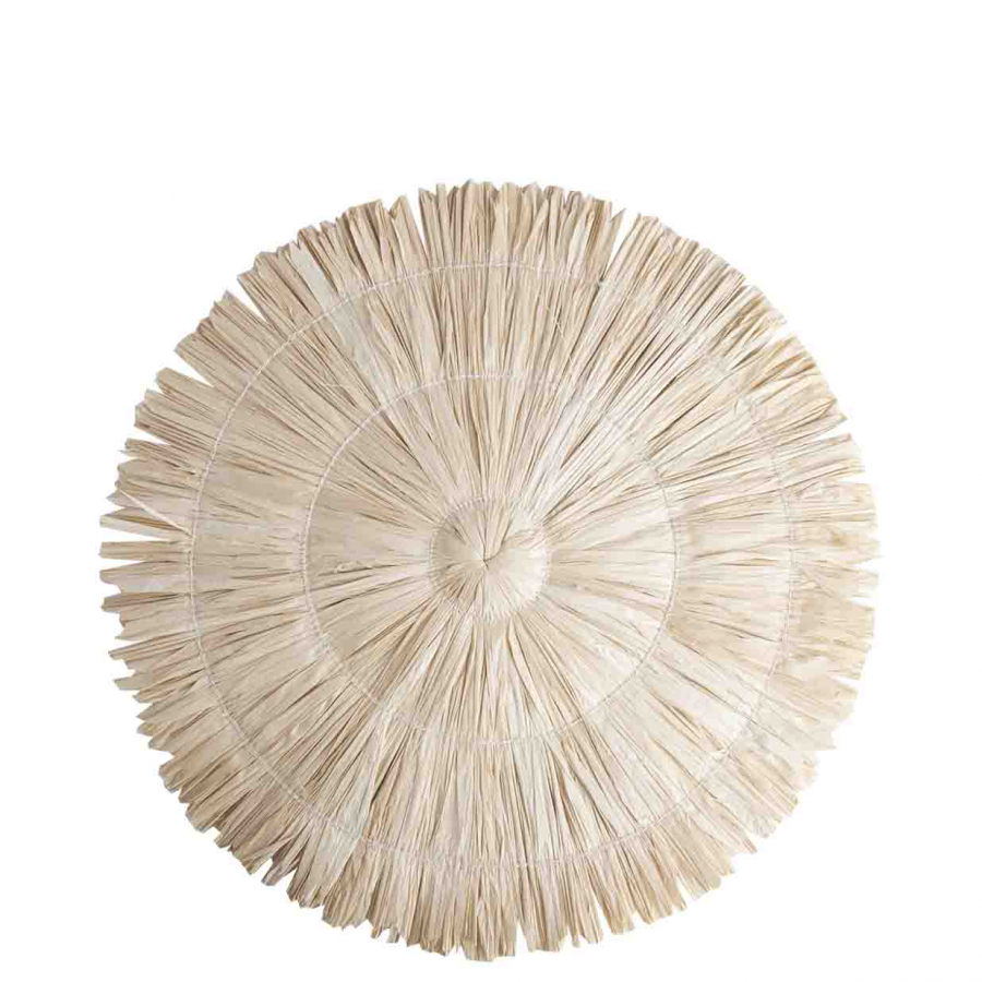 Straw light underplate with fringes d35 cm