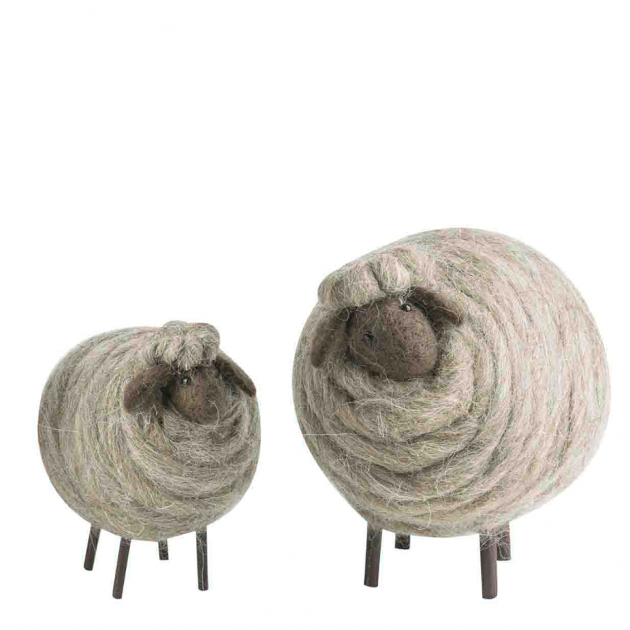 Set de 2 moutons en laine gris h17 cm