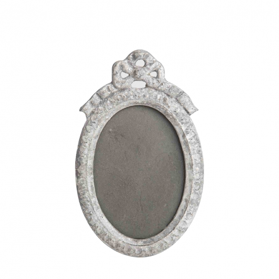 Grey cast-iron oval frame with bow