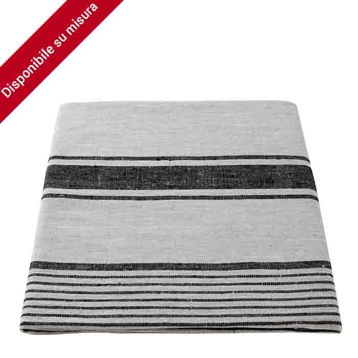 100%linen tablecloth natural/black color 140 x 140 cm